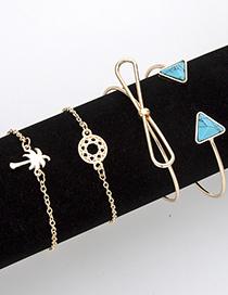 Fashion Gold Color Coconut Tree&bowknot Decorated Bracelet(4pcs)