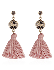 Fashion Pink Round Shape Design Tassel Earrings