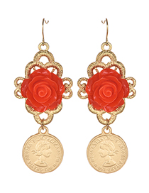 Fashion Gold Color Flower Decorated Long Earrings