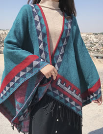 Fashion Green Geometric Pattern Decorated Shawl