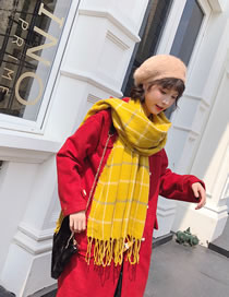 Fashion Yellow Grids Pattern Decorated Scarf