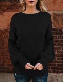 Elegant Black Round Neckline Design Pure Color Sweater