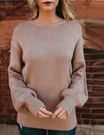 Elegant Light Pink Round Neckline Design Pure Color Sweater