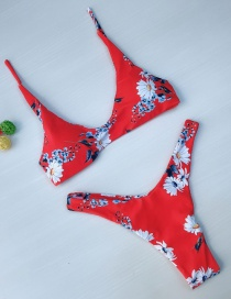 Sexy Red Flowers Pattern Design Split Swimwear