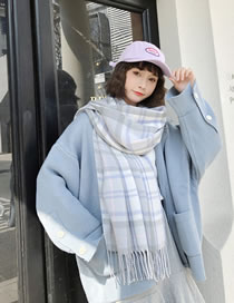 Fashion Light Blue Grids Pattern Decorated Tassel Scarf