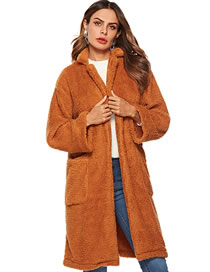 Fashion Brown Pure Color Decorated Coat