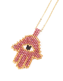 Fashion Pink Palm Shape Decorated Necklace