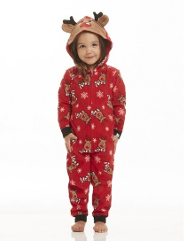 Fashion Red Deer Shape Design Jump Suit