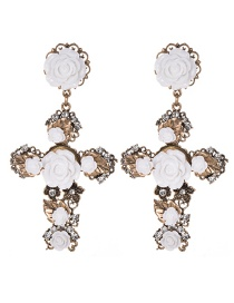 Fashion White Cross Shape Decorated Flower Earrings