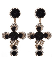 Fashion Black Cross Shape Decorated Flower Earrings