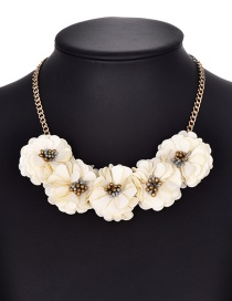 Fashion Beige Flower Shape Decorated Necklace