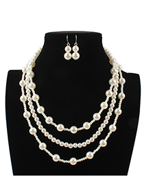 Fashion White Full Pearl Decorated Jewelry Set
