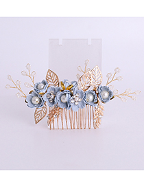 Fashion Gold Color+blue Flower Shape Decorated Hair Accessories