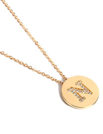 Simple Gold Color Letter N Shape Deocrated Necklace