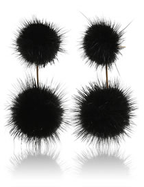 Simple Black Pom Ball Decorated Pure Color Earrings