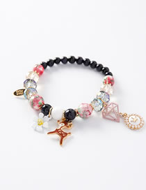 Fashion Black Flower Shape Decorated Bracelet