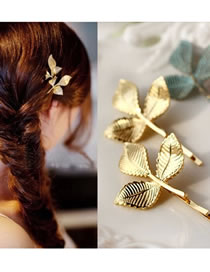 Fashion Gold Color Leaf Shape Decorated Hair Clip