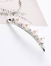 Fashion White Pearl Decorated Hair Clip