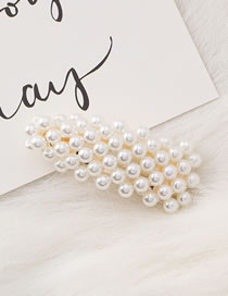 Fashion White Full Pearl Decorated Hair Clip