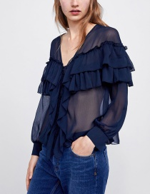 Fashion Navy V Neckline Design Pure Color Blouse