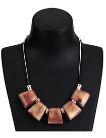 Fashion Brown Geometric Shape Decorated Necklace