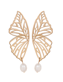 Fashion Gold Color Hollow Out Design Butterfly Shape Natural Pearls Earrings