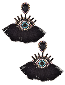 Fashion Black Eye Shape Decorated Tassel Earrings