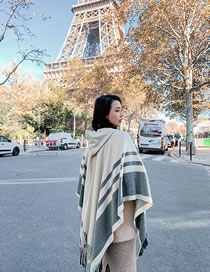 Fashion Beige Stripe Pattern Decorated Scarf