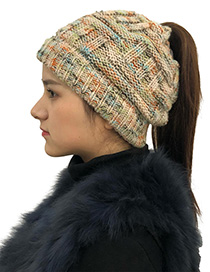 Fashion Beige Color Matching Decorated Hat