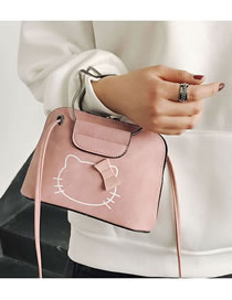 Fashion Pink Cat Pattern Decorated Handbag