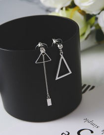Simple Silver Color Triangle Shape Decorated Earrings