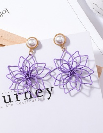 Simple Purple Flower Shape Decorated Earrings