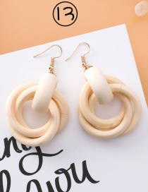 Fashion Beige Pure Color Decorated Earrings