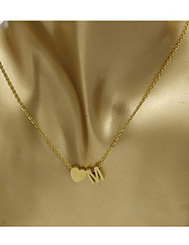 Simple Gold Color Letter M&heart Shape Decorated Necklace