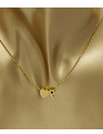 Simple Gold Color Letter P&heart Shape Decorated Necklace