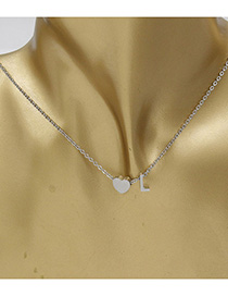 Simple Silver Color Letter L&heart Shape Decorated Necklace