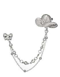 Fashion Silver Color Hat&bowknot Shape Decorated Brooch