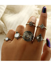 Fashion Gold Color Round Shape Decorated Ring (6 Pcs )