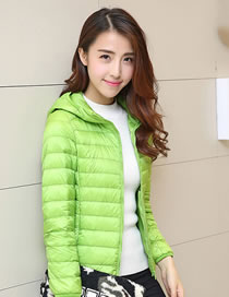 Fashion Green Pure Color Decorated Down Jacket