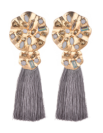 Fashion Gray Diamond Decorated Tassel Earrings