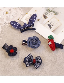 Fashion Navy Flower&bowknot Shape Decorated Hair Clip (5pcs )