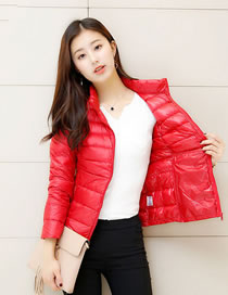 Simple Red Pure Color Decorated Down Jacket