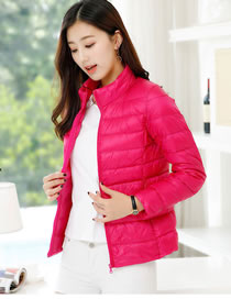 Simple Plum Red Pure Color Decorated Down Jacket