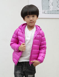 Fashion Plum Red Pure Color Decorated Down Jacket
