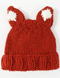 Lovely Dark Orange Ears Shape Design Knitted Hat