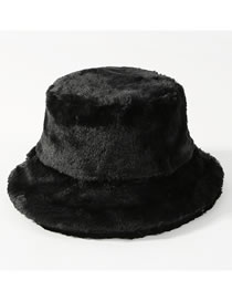Fashion Black Pure Color Decorated Thickened Hat