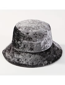 Fashion Gray Embroidered Letters Design Fisherman Hat