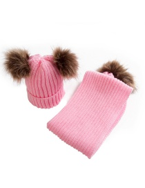 Fashion Pink Pom Ball Decorated Pure Color Hat&gloves (2 Pcs )