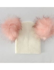 Fashion White+pink Pom Ball Decorated Pure Color Hat