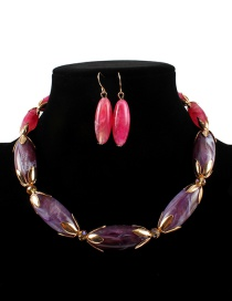 Fashion Purple+pink Oval Shape Design Color Matching Jewelry Sets